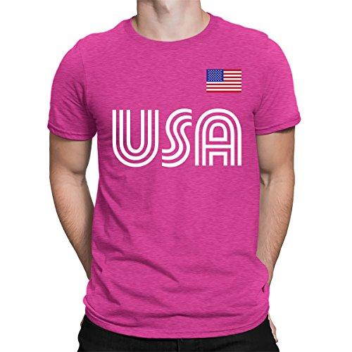 SpiritForged Apparel United States Soccer Jersey Men's T-Shirt, Pink Large