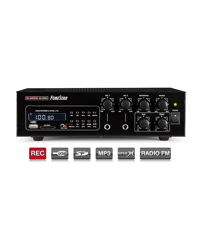 AMPLIFICADOR FONESTAR MA-30RGU 30W-RMS 100V/8-OHMS 12VCC/230VCA USB/SD/MP3/REC/FM: Amazon.es: Electrónica