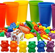 Skoolzy Rainbow Counting Bears with Matching Sorting Cups, Bear Counters and Dice Math Toddler Games 71pc Set - Bonus Scoop