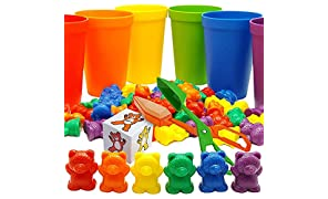 Skoolzy Rainbow Counting Bears with Matching Sorting Cups, Bear Counters and Dice Math Toddler Games 71pc Set - Bonus Scoop Tongs, Storage Bag