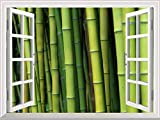 """good looking bamboo wall mural  24""""x32"""" Wall Art Painting Modern White Window Looking Out Into a Bamboo Forest Mural Stretched and Framed for Home Office Decor"""
