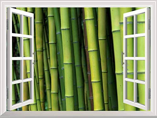 """24""""x32"""" Wall Art Painting Modern White Window Looking Out Into a Bamboo Forest Mural Stretched and Framed for Home Office Decor"""