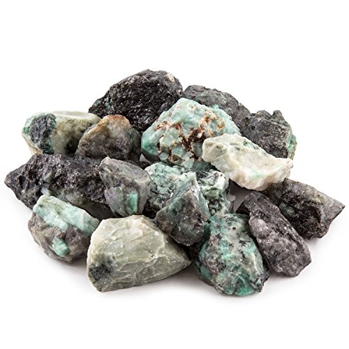 "UPC 849344043454, Crystal Allies Materials: 1lb Bulk Rough Emerald Crystals from Brazil - Large 1"" Raw Natural Stones for Cabbing, Cutting, Lapidary, Tumbling and Polishing & Reiki Crystal Healing – Wholesale Pound Lot"