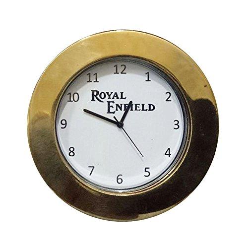 SPEEDYRIDERS Royal Enfield Logo White DIAL Brass STEM NUT/Handle T NUT Watch Clock ()