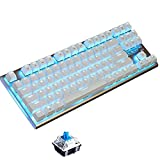 Gaming Mechanical Keyboard,87keys Wired keyboard,Blue Backlit, Blue Switches, White