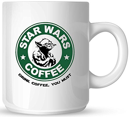 Star Wars Coffee - Yoda - Drink Coffee You Must - 11oz Ceramic Coffee Mug - White Mug - Black and Green One-Sided Print - Gloss Finish (Sided Mug Coffee)