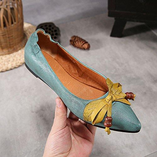Schuhe Weicher ZFNYY die Zeigte Flachen Ethnisch Retro der Flachen Flachen Weiblicher Boden Mundbogenschuhe nqqrY1gEw