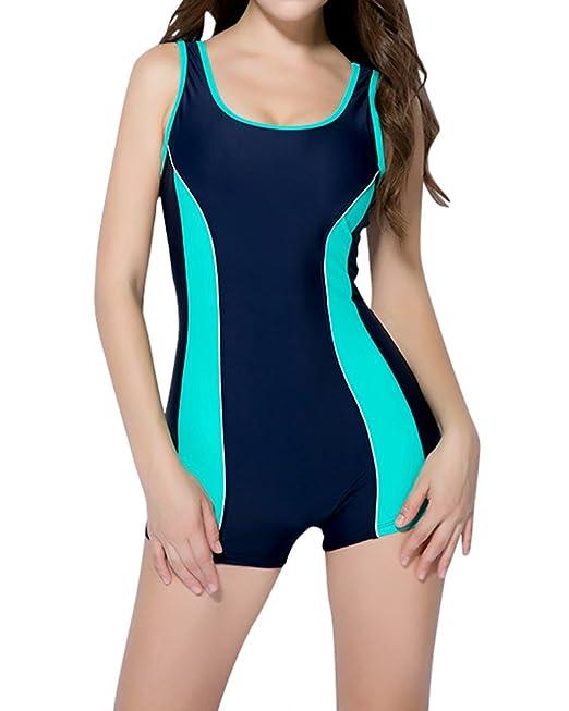 0a46bce09e75 Traje de Baño de Deportes Traje de Natación Bañador Pieza con Pantalones  Cortos Elástico Cómodo para Mujer