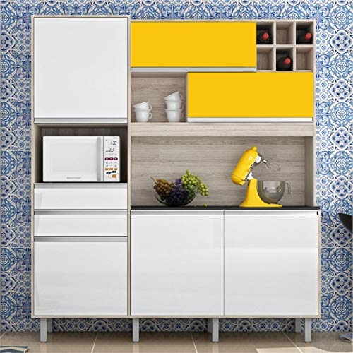 Cozinha Compacta Loft Nesher - Branco Amarelo - Nesher