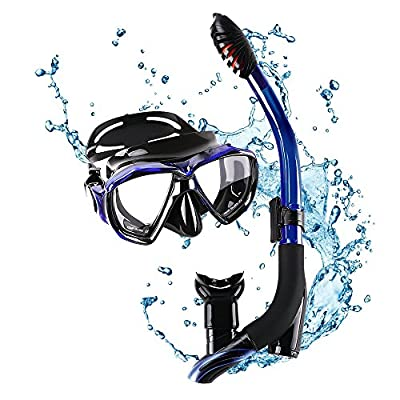 INTEGITY Snorkel Set, Diving Mask with Panoramic Wide View and Innovative Water-Air Separated Channel Dry Top Snorkel Set,Anti-Fog,Scuba Mask for Kids Adults with Adjustable Silicone Straps