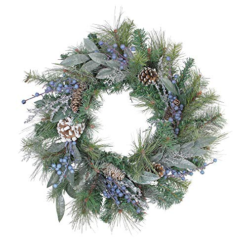 Northlight Mixed, Berries and Snowy Pine Cones Artificial Christmas Wreath -Unlit 24