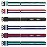 6-Piece Multi-Color Four-Size Nylon Strap Washable Watch Band for Men and Women (12mm 16mm 18mm 20mm)