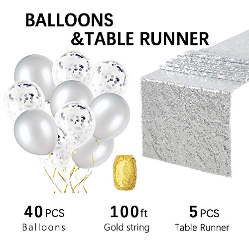 - Silver Balloons Silver Confetti Balloons and 12x108 Inches Silver Sequin Table Runners for Baby Shower Birthday Party and Wedding Decoration by QueenDream- 5 Pack