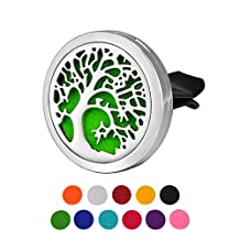 HOUSWEETY Tree of Life Car Air Freshener Aromatherapy Essential Oil Diffuser Locket With Vent Clip - 11 Refill Pads