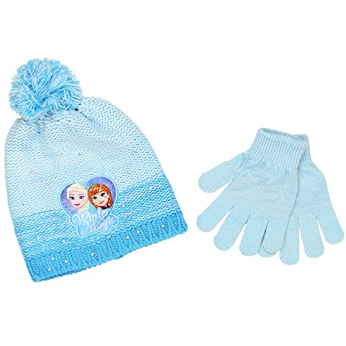 Frozen Elsa and Anna Youth Beanie Hat and Gloves Set (Winter Magic Blue) (Frozen Gloves)