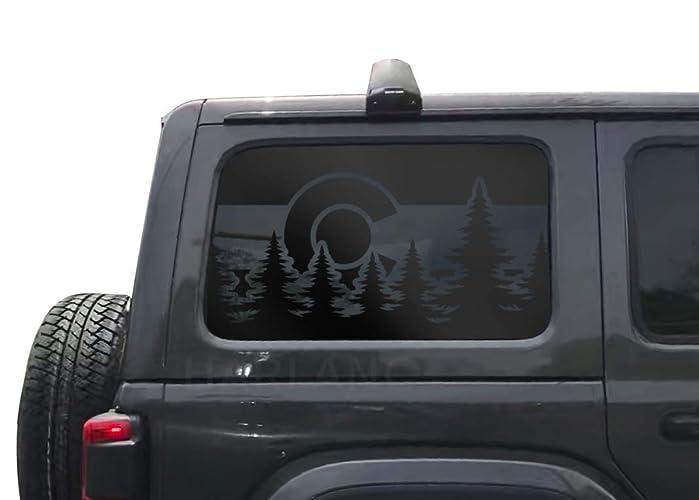 Jeep Matte Black >> Jeep Wrangler Jlu Jku Colorado State Flag Design Decals In Matte Black For Side Windows Hs29ca