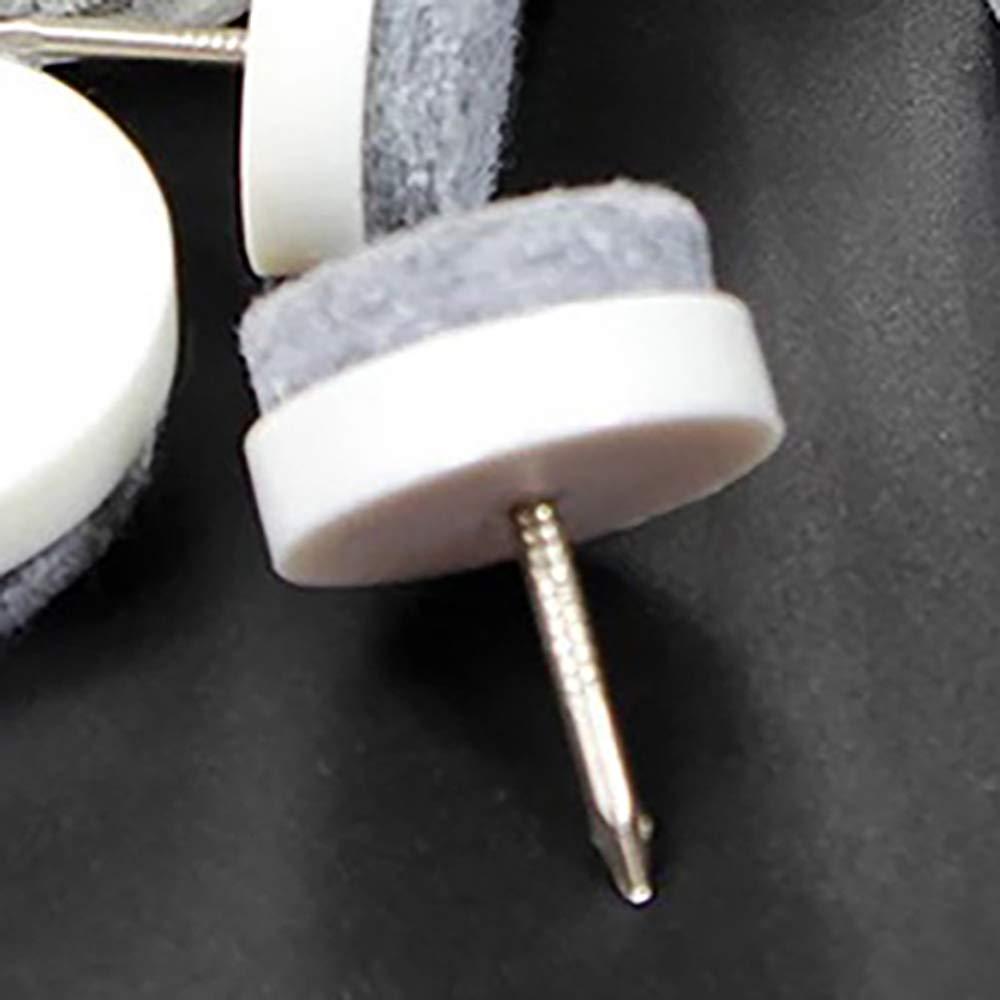 TONGXU 40Pcs Almohadillas de Fieltro para Sillas Antideslizantes U/ñas de Fieltro Amortiguador para Muebles Tacos de Silla y Mueble Acolchados y con Tornillo Redondos de 18MM Blanco
