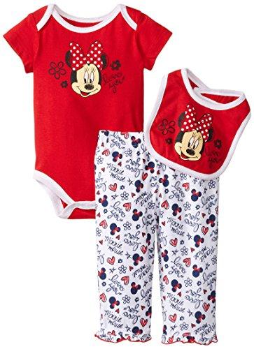 Disney Baby-Girls Newborn Minnie Mouse 3 Pieced Print Bib Set, Chinese Red, 6-9 Months