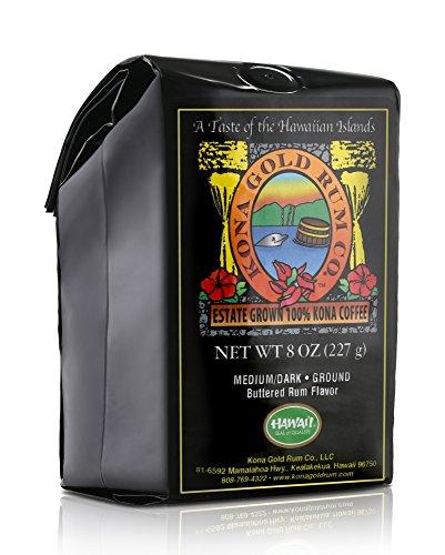 Coffee Ground Gold - Kona Gold Rum Co. Ground Butter Rum Kona Coffee, 8 oz.