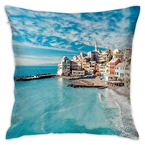 Farm House Decor Throw Pillow Cushion Cover, Panorama Of Old Italian Fish Village Beach Old Province Coastal Charm Image,Decorative Square Accent Pillow Case,18 X 18 Inches,QueenFull Turquoise_2