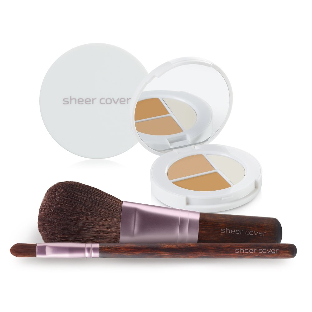 Sheer Cover Studio – Starter Face Kit – Perfect Shade Mineral Foundation – Conceal & Brighten Highlight Trio – with FREE Foundation Brush and Concealer Brush – Light Shade – Compact Sizes/4 Pieces