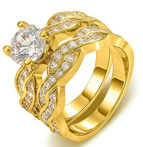 - AnaZoz Gold Plated Solitair Zirconia Anniversary Bridal Wedding Band Engagement Ring Sets Size 8