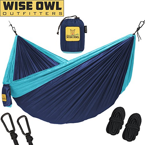 Single & Double Hammocks - Top Rated Best Quality Gear For The Outdoors Backpacking Survival or Travel - Portable Lightweight Parachute Nylon DO Navy & Lt Blue (Camping Hammock)
