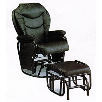 Amazon Com Swivel Glider Rocker Chair With Ottoman Black