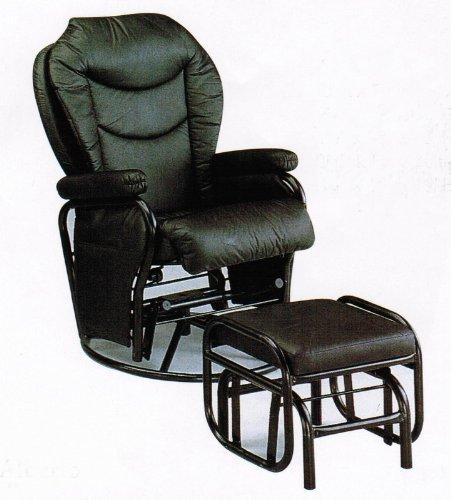 Leatherette Glider - Swivel Glider Rocker Chair with Ottoman Black Leatherette