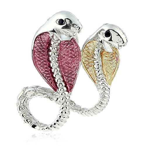 Winter's Secret European Popular Style Fashion Double Coffee Cobra Alloy Brooch Animal (Usa Metric Bushings)