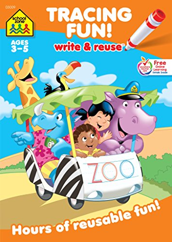 School Zone - Tracing Fun! Write & Reuse Workbook - Ages 3 to 5, Preschool to Kindergarten, Letters, Pre-Writing, Numbers, Shapes, Wipe Clean (School Zone Write and Reuse Book Series)