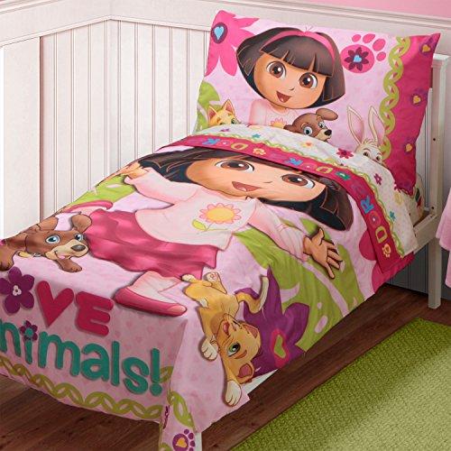 [Dora The Explorer Pets Toddler Bed Set, Pink] (Dora Explorer Toddler Bedding Set)