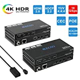 EZCOO HDMI 2.0 Extender HDBaseT 4K 130ft /1080P 230ft, 4K 60Hz 4:4:4 18G HDR,1080P Dolby Vision Dolby Atmos by Cat5e/6a,Auto EDID,4K Uncompressed HDMI 70m No lag,Two Way PoE+IR,DTS:X,CEC,HDMI Scaler