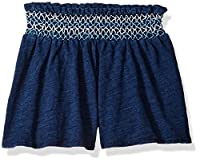 Flapdoodles Girls' Toddler Knit Short with Smocked Waist Band, Navy, 2T