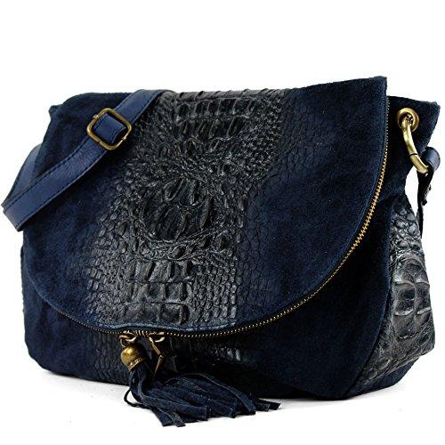 Italian Ladies Handbag, Shoulder Type, Dunkelblau Wildleder Nappa Leather T68 / Kroko Large