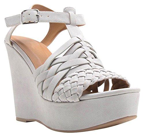 Cambridge Select Dames Open Teen Gevlochten Geweven Enkel T-strap Platform Wedge Sandaal Lichtgrijs