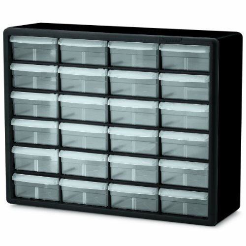 - Akro-Mils 10124 24 Drawer Plastic Parts Storage Hardware and Craft Cabinet, 20-Inch x 16-Inch x 6.5-Inch, Black