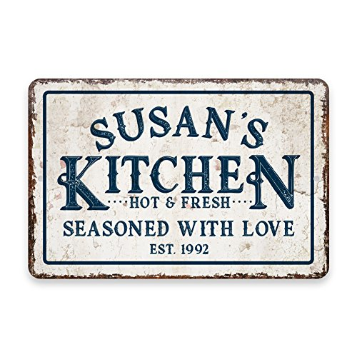 Personalized Vintage Distressed Look Kitchen Seasoned with Love Metal Room Sign (Decor Metal Sign)