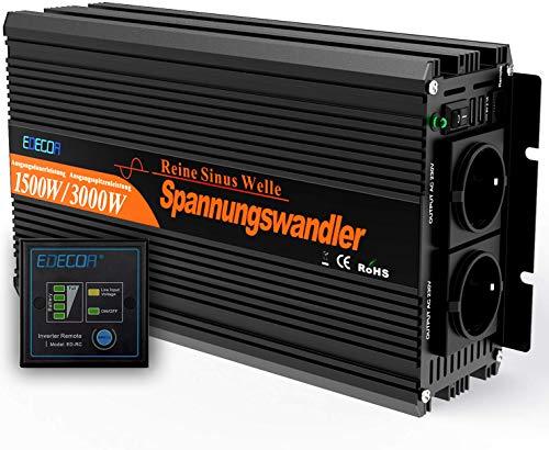 51ZlRoWSH2L EDECOA Wechselrichter reiner sinus 1500w Spannungswandler 12V 230V 2x USB und Fernbedienung Spannungswandler Reiner…