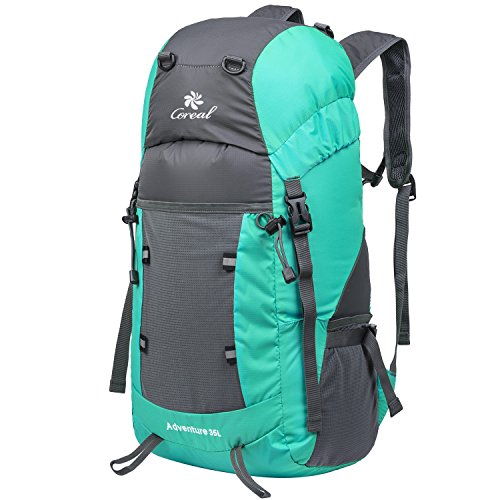 [Coreal Large 35L Lightweight Packable Travel Hiking Backpack Lake Blue] (Hiking Travel Backpack)