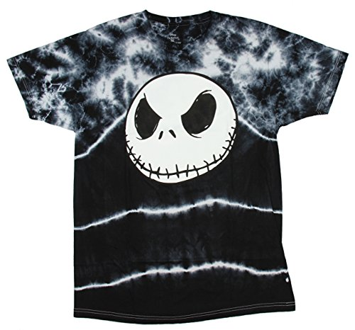 Disney Tim Burton Nightmare Before Christmas Jack Skellington Face Tie Dye Shirt -