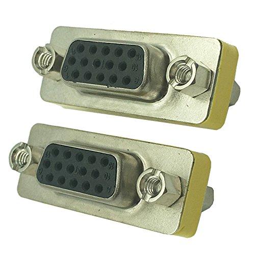DONG SVGA Connector,15 HD/DB/15 VGA/SVGA KVM Gender Changer Adapter Female to Female (F-F) - 2 Pack (Gender Changer F/f Db15)