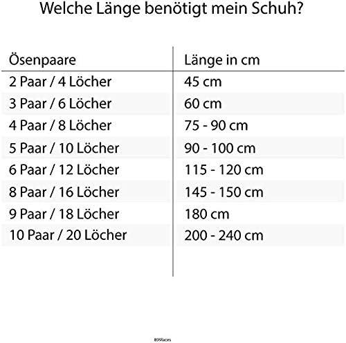 899laces Lacets plats Bleu 45-240 cm 8-10 mm de large ind/échirables pour vos sneakers baskets ou baskets de sport 100 /% fabriqu/é en Allemagne diff/érentes longueurs