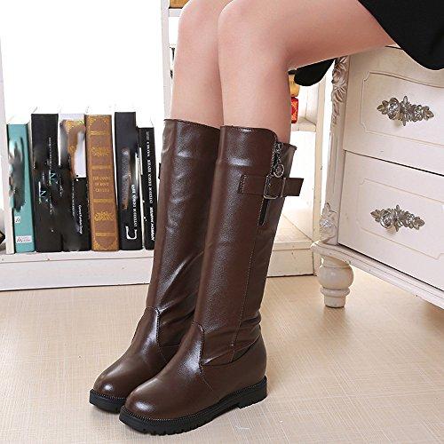 Stivali Da Donna, Borsellino Donna Da Donna Flat Con Stivali Martin Zip Laterale Stivaletti Alla Caviglia Scarpe Tacco Marrone