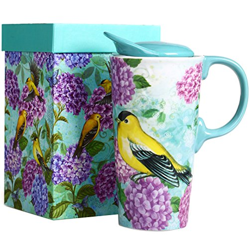 CEDAR HOME Travel Coffee Ceramic Mug Porcelain Latte Tea Cup With Lid 17oz. Humming bird