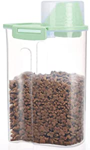 PISSION Pet Food Storage Container with Graduated Cup and Seal Buckles Food Dispenser for Dogs Cats (Green)