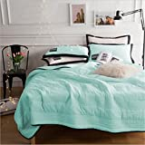 PinkMemory 3pc Quilt Sets with Matching Pillow Shams Solid Color Bedspread/Coverlet Blanket Quilt Set for Teens Girls,Lightwight Microfiber,Twin/Full Size-Mint,Full