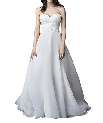 Vweil Simple Vestido De novia A-Line Ruched Chiffon Wedding Dresses For Bride Ivory US2