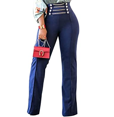 23b74e2aa0c SHINFY Women s Buttons up High Waist Stretchy Straight Wide Leg Pants  Trousers at Amazon Women s Clothing store