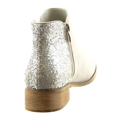 Sopily - Zapatillas de Moda Botines chelsea boots Tobillo mujer brillante Talón Tacón ancho alto 3.5 CM - Gris